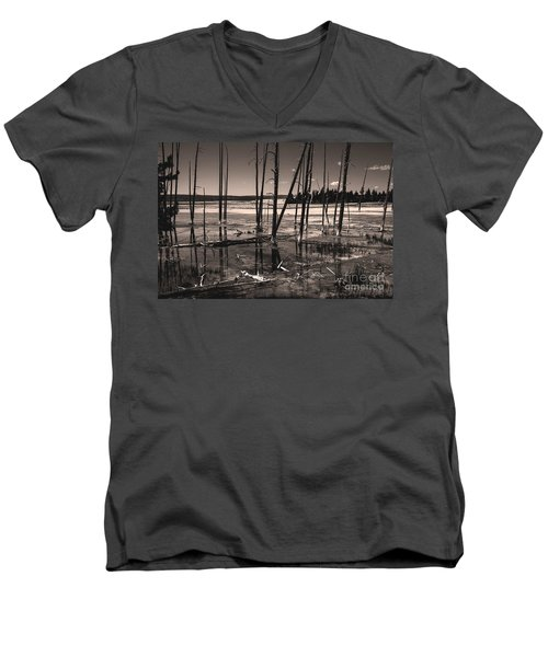 Men's V-Neck T-Shirt featuring the photograph Sulfur Field by Mae Wertz