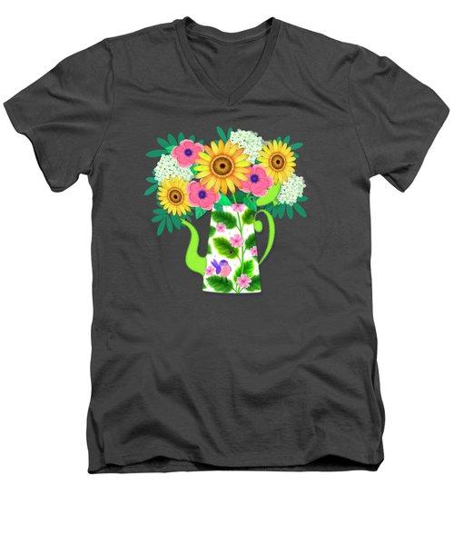 Summer Flowers In Coffee Pot Men's V-Neck T-Shirt