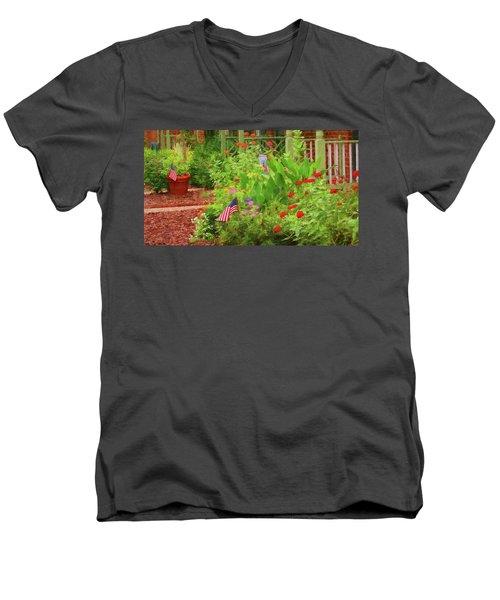 Summertime In The Flower Garden Men's V-Neck T-Shirt