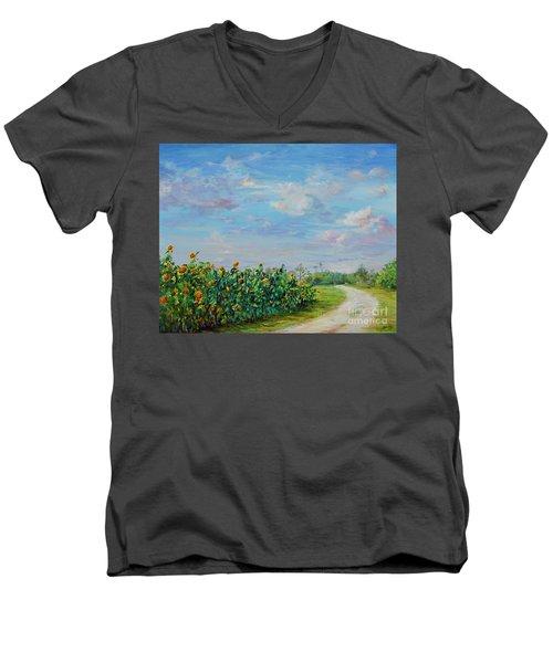 Sunflower Field Ptg Men's V-Neck T-Shirt