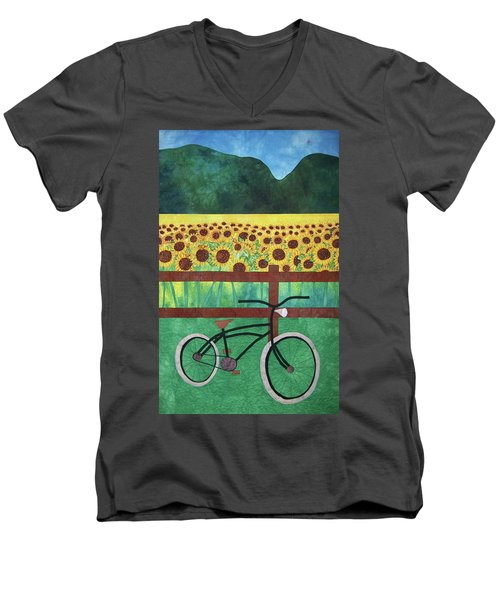 Sunflowers At Whitehall Farm Men's V-Neck T-Shirt