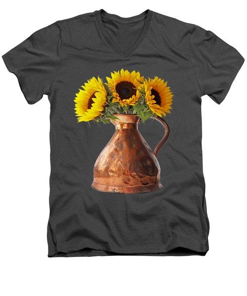 Sunflowers In Copper Pitcher On Black Men's V-Neck T-Shirt