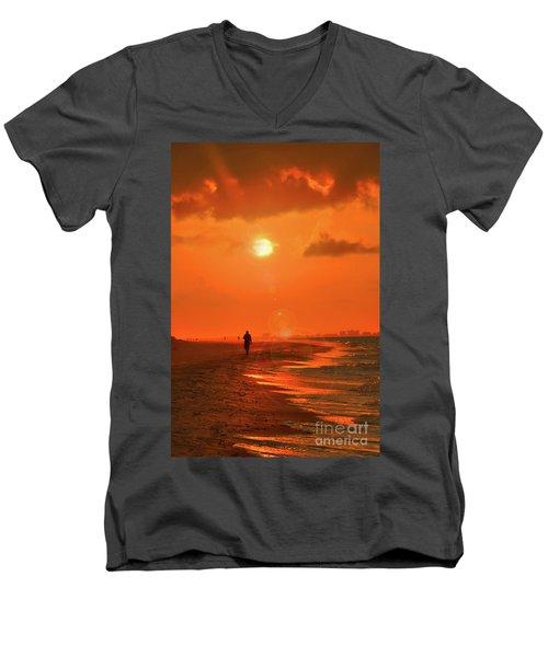 Sunrise Walk On Sanibel Island Men's V-Neck T-Shirt