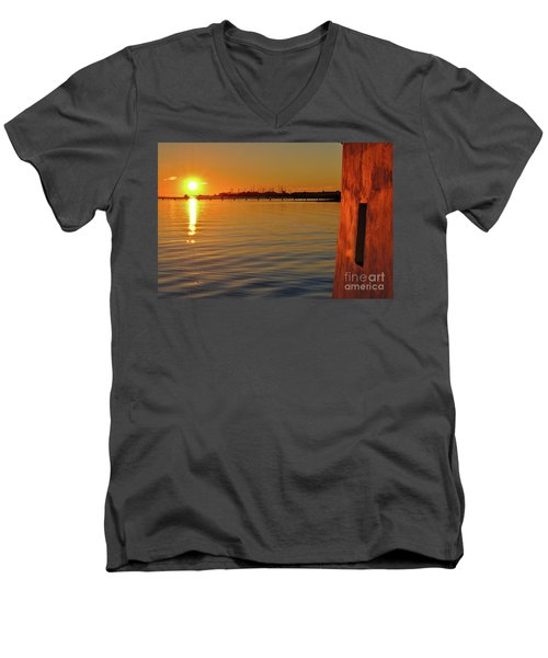 Sunset And Old Watermill Men's V-Neck T-Shirt