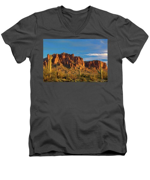 Men's V-Neck T-Shirt featuring the photograph Sunset At Superstition Mountain by Tim Kathka