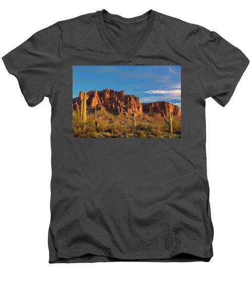 Sunset At Superstition Mountain Men's V-Neck T-Shirt