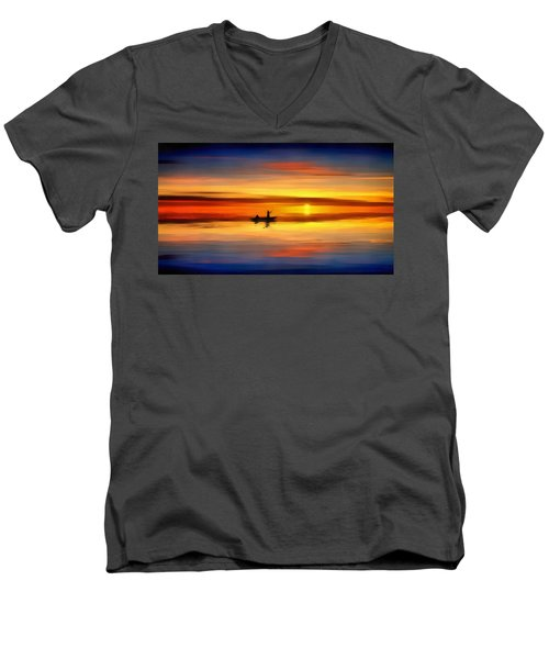 Men's V-Neck T-Shirt featuring the painting Sunset Fishing by Harry Warrick