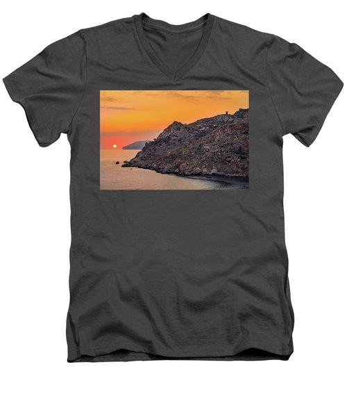 Sunset Near Cape Tainaron Men's V-Neck T-Shirt