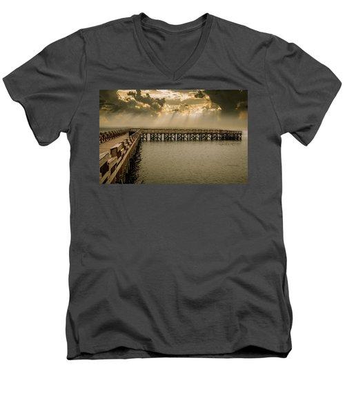 Sunset On Pier Men's V-Neck T-Shirt