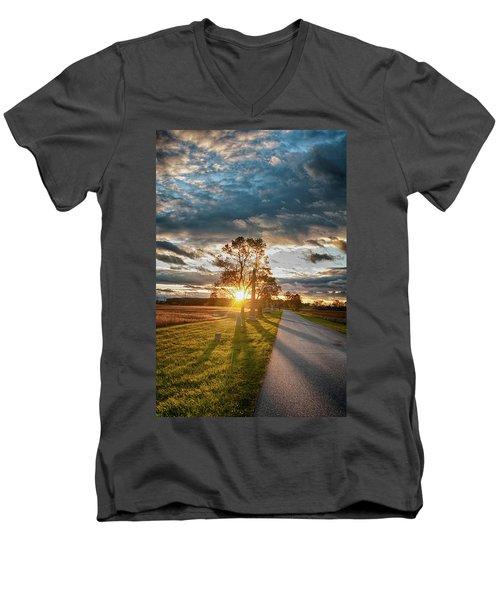 Sunset On The Field Men's V-Neck T-Shirt