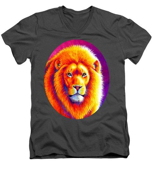 Sunset On The Savanna - African Lion Men's V-Neck T-Shirt