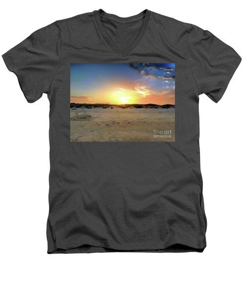 Sunset Over N Padre Island Beach Men's V-Neck T-Shirt