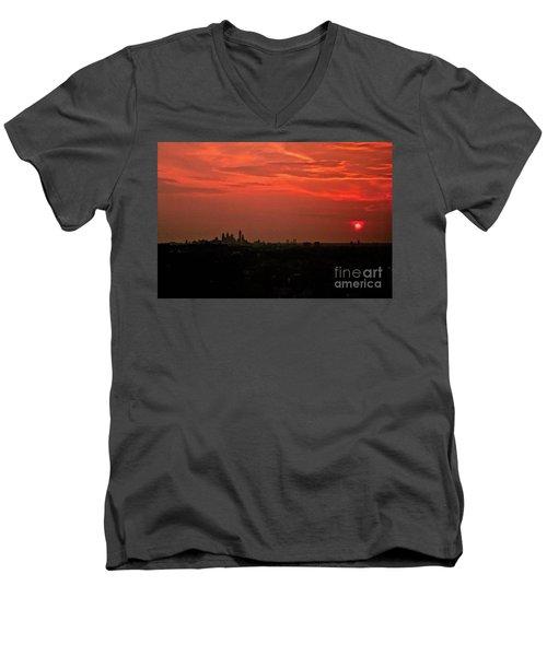 Sunset Over Philly Men's V-Neck T-Shirt