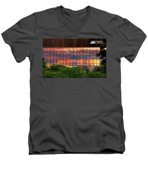 Sunset Reflections On A Wall Of Glass Men's V-Neck T-Shirt