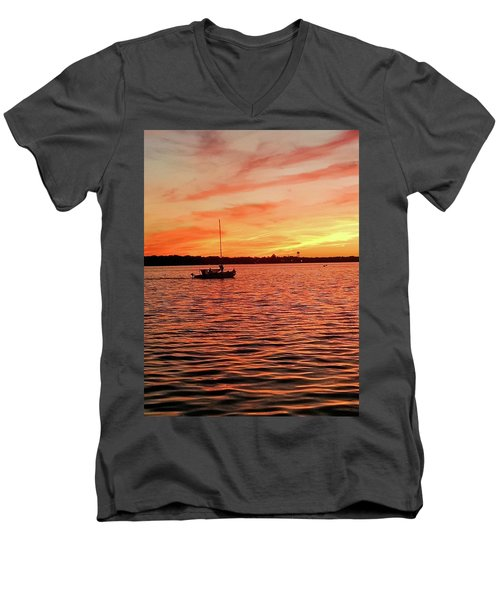 Men's V-Neck T-Shirt featuring the photograph Sunset Sail by Linda Henne