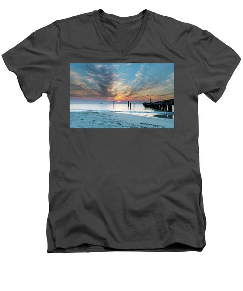 Sunset Seascape And Beautiful Clouds Men's V-Neck T-Shirt
