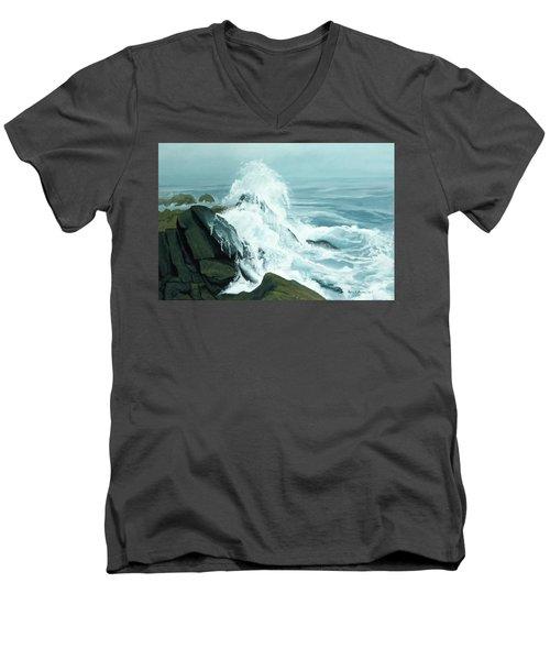 Surging Waves Break On Rocks Men's V-Neck T-Shirt