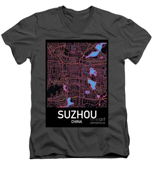 Suzhou City Map Men's V-Neck T-Shirt