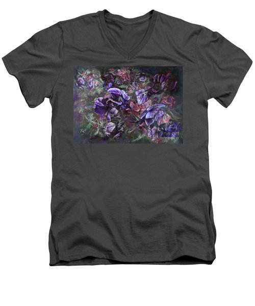 Men's V-Neck T-Shirt featuring the painting Sweet Peas In The Artist's Garden By Evening. by Ryn Shell