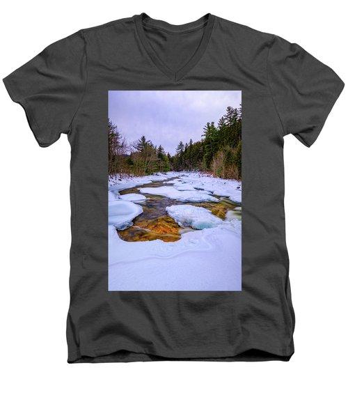 Swift River Winter  Men's V-Neck T-Shirt