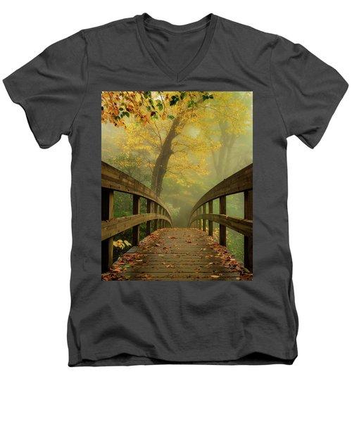 Tanawha Trail Blue Ridge Parkway - Foggy Autumn Men's V-Neck T-Shirt