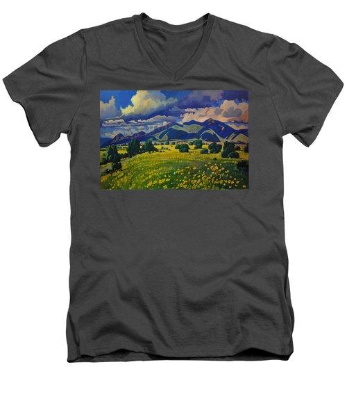 Taos Yellow Flowers Men's V-Neck T-Shirt