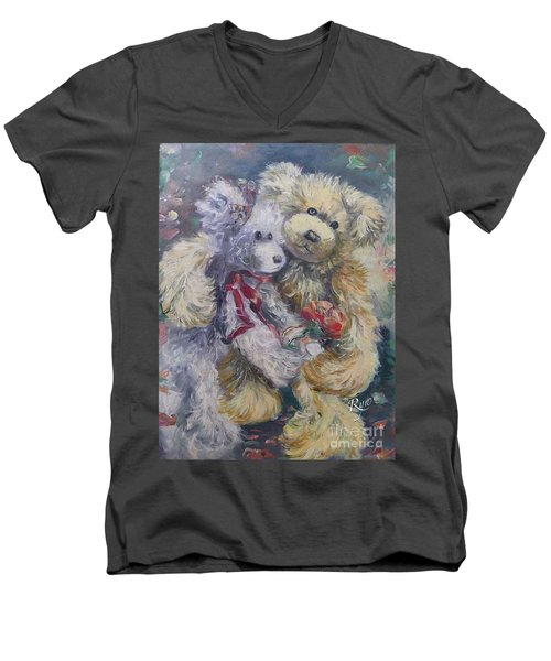 Men's V-Neck T-Shirt featuring the painting Teddy Bear Honeymooon by Ryn Shell