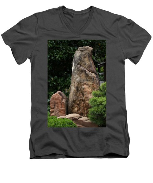 Men's V-Neck T-Shirt featuring the photograph Teeny Weeny And Biggy Wiggy - Rock Formations by Debi Dalio