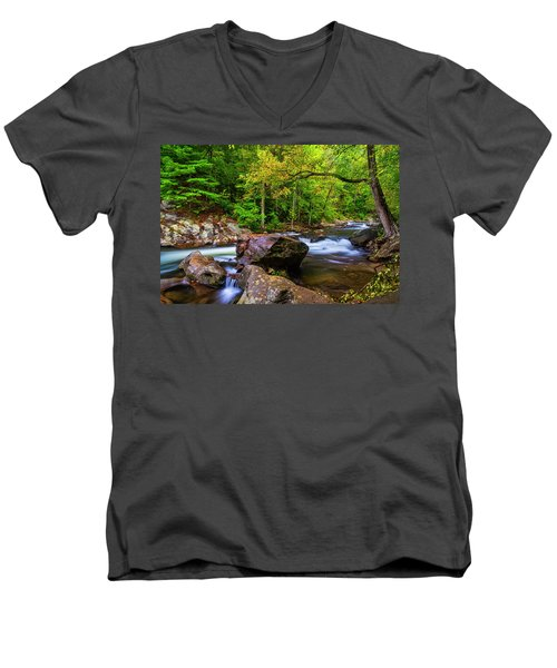 Men's V-Neck T-Shirt featuring the photograph Tellico River Serenity by Andy Crawford