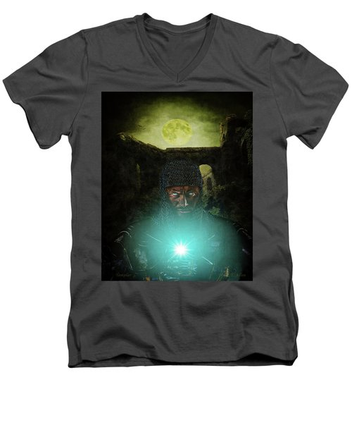 Men's V-Neck T-Shirt featuring the digital art Templar by Mark Allen