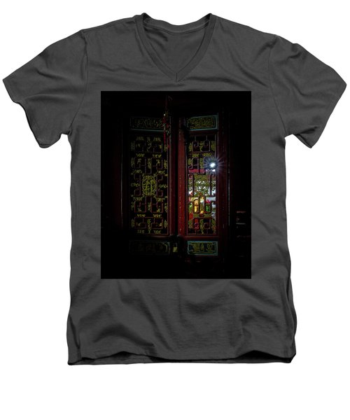 Temple Doorway On Old West Street Men's V-Neck T-Shirt