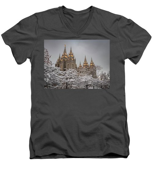 Temple In The Snow Men's V-Neck T-Shirt