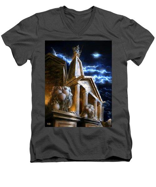 Temple Of Hercules In Kassel Men's V-Neck T-Shirt
