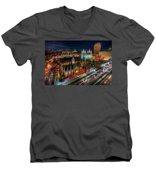 Temple Square Lights Men's V-Neck T-Shirt