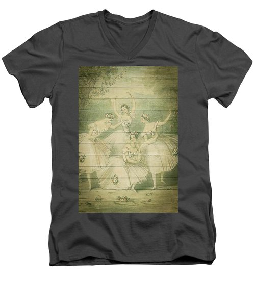 The Ballet Dancers Shabby Chic Vintage Style Portrait Men's V-Neck T-Shirt