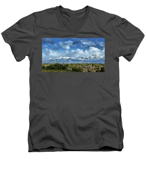 The City Of Bariloche And Landscape Of Snowy Mountains In The Argentine Patagonia Men's V-Neck T-Shirt