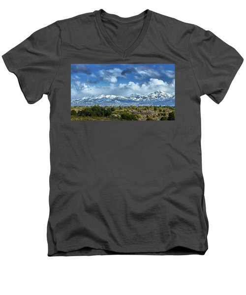 Men's V-Neck T-Shirt featuring the photograph The City Of Bariloche Surrounded By Mountains by Eduardo Jose Accorinti