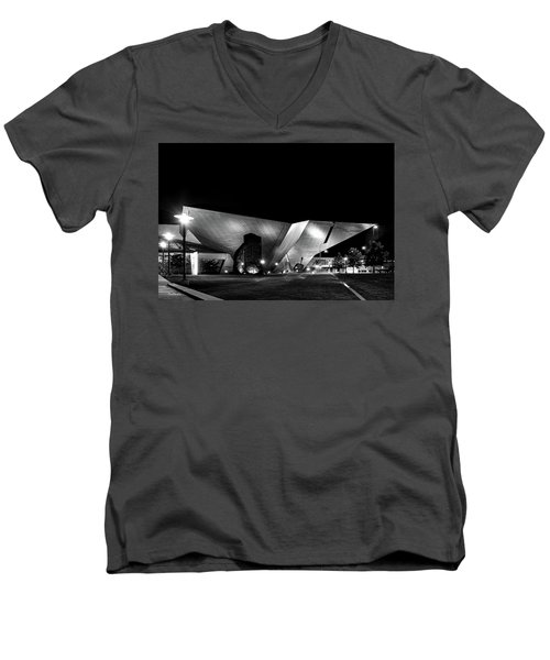 Men's V-Neck T-Shirt featuring the photograph The Dam At Night by Tim Kathka