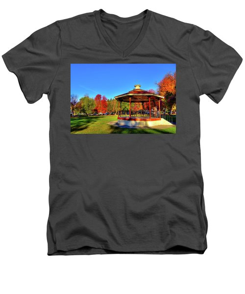 Men's V-Neck T-Shirt featuring the photograph The Gazebo At Reaney Park by David Patterson