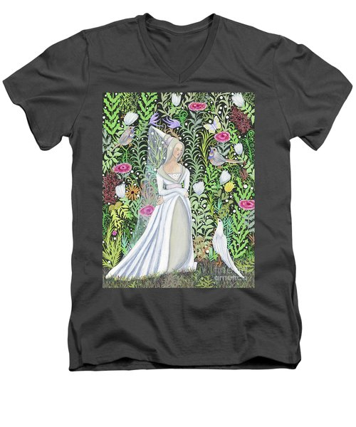 The Lady Vanity Takes A Break From Mirroring To Dream Of An Unusual Garden  Men's V-Neck T-Shirt
