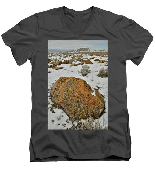 The Lichen Covered Boulders Of The Book Cliffs Men's V-Neck T-Shirt