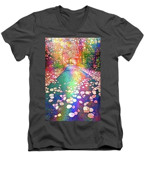 The Path Where Rainbows Meet Men's V-Neck T-Shirt