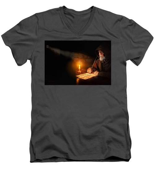 Men's V-Neck T-Shirt featuring the digital art The Prisoner by Mark Allen