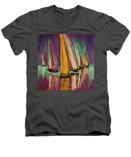 Men's V-Neck T-Shirt featuring the pastel The Race by David Patterson