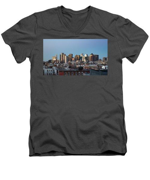 The Skyline Of Boston In Massachusetts, Usa On A Clear Winter Ev Men's V-Neck T-Shirt
