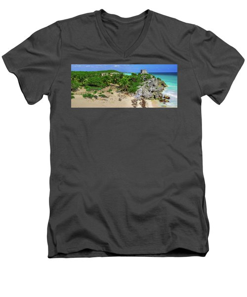 The Temple By The Sea Men's V-Neck T-Shirt