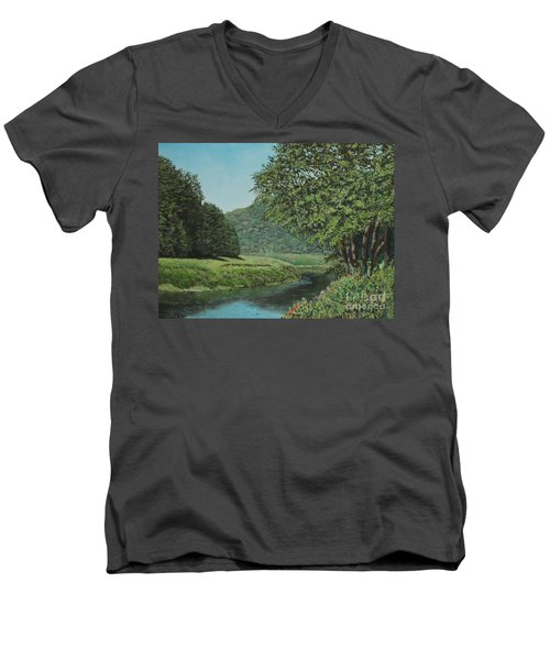 The Wye River Of Wales Men's V-Neck T-Shirt