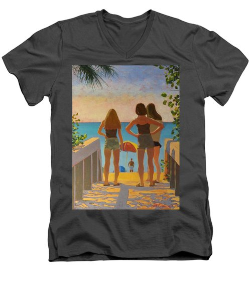 Three Beach Girls Men's V-Neck T-Shirt