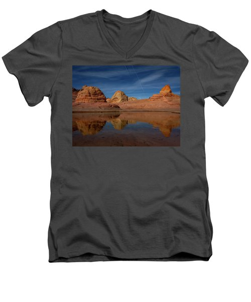 Men's V-Neck T-Shirt featuring the photograph Three Pillars by Edgars Erglis
