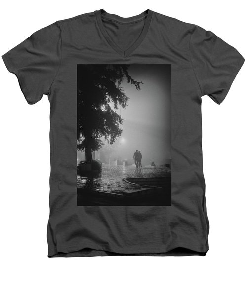 Men's V-Neck T-Shirt featuring the photograph Together In Fog, Sa Pa, 2014 by Hitendra SINKAR